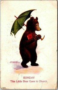 1907 Artist-Signed WALL Busy Bears Postcard SUNDAY Bear Goes to Church Ullman
