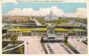 Union Railroad Depot Capitol Panorama Providence Rhode Island 1926 postcard