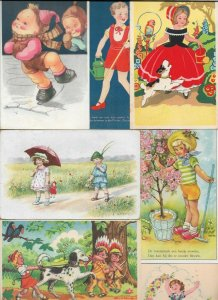 Artist Signed Happy Kids Ice Skating Playing and more Postcard Lot of 20 01.13