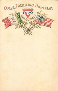 Americana Y.M.C.A. work of universal brotherhood Italy United States flags