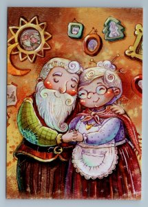 ELDER COUPLE Father and Mother Frost in House Love Fantasy Russian New Postcard