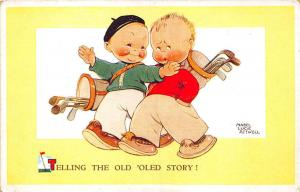 Telling The Old Oled Story! Golf Bags Clubs Signed Mabel Attwell Postcard
