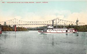 Albany Oregon~Willamette River & Steel Bridge~Pleasure Boat~c1910 Pc
