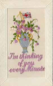 EMBROIDERED, 1900-10s; I'm thinking of you every Minute, Vase of purple flowers