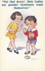 Boy Putting On Face Powder Make Up Transgender Style Old Comic Humour Postcard