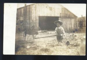 RPPC AKRON COLORADO RICHARDS FARM YOUNG BOY FARMING REAL PHOTO POSTCARD