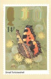 British stamp on Postcard Butterflies Small Tortoiseshell by Gordon Beningfield