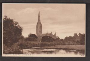 Salisbury Cathedral Viewed From The River , England - Unused