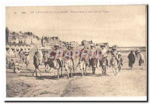 The Sables d & # 39Olonne Old Postcard Promenade a donkey on the beach
