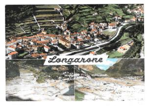 Italy Longarone 1963 Disaster Before and After Vtg Aerial Multiview Postcard 4X6