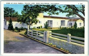 North Hollywood, Calif. Postcard Home of Dick Powell, Toluca Lake Linen 1936
