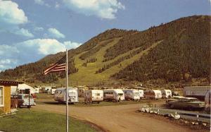 Jackson Wyoming B B Trailer Village Park Street View Vintage Postcard K26075