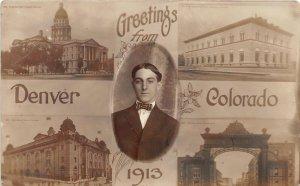 H39/ Denver Colorado RPPC Postcard c1910 Greetings Capitol Arch 5View 3