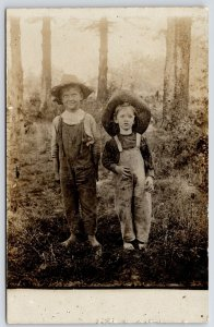 RPPC Boys in Bib Overalls, Straw Hats, Back From Mud~Ornery One Not Afraid c1910