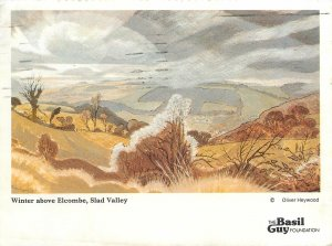 Winter above Elcombe Slad Valley painting Postcard