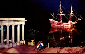 Massachusetts Plymouth East River Mayflower II At Night