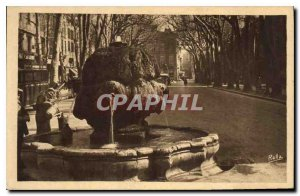 Old Postcard Aix en Provence Cours Mirabeau The Fountain called hot thermal w...