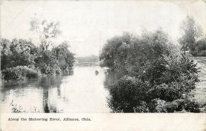 Alliance Ohio~Duck Cuddle Along the Mahoning River~B&W 1908 Postcard