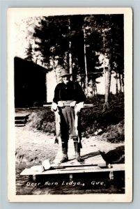RPPC Deer Horn Lodge, Quebec Canada, Proud Fisherman Vintage Postcard
