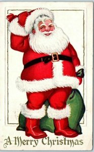 Christmas Embossed Postcard SANTA CLAUS Red Suit Bag of Toys / 1927 Cancel