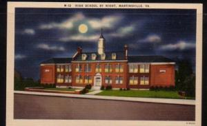 Virginia Postcard Night View High School Martinsville