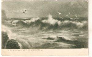 G.E.NEWTON. The rolling surf of Brighton Tuck Rough Sea Ser. PC # 1100