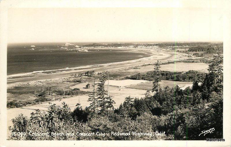 Crescent City bay REDWOOD HWY CALIFORNIA RPPC Sawyers 7159 postcard