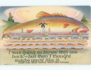 Linen EXAGGERATION - FISH ON TRAIN CAR Rennie - Near Brereton Lake MB E8064