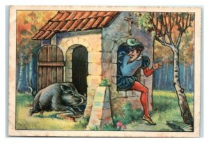 Brave Little Tailor Traps Wild Boar Echte Wagner German Trade Card *VT31A