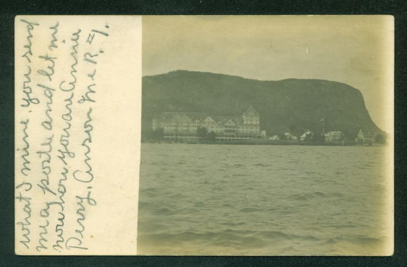 Hotel in ANSON MAINE on a Lake Real Photo Postcard RPPC Scene