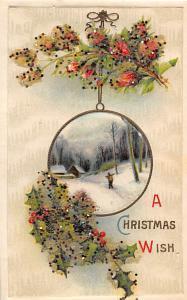 Christmas Post Card Glitter on Card Writing on back