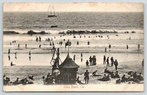 Long Beach California~Beach Bathing Scene~Changing Cabin~Ship on Water~c1910