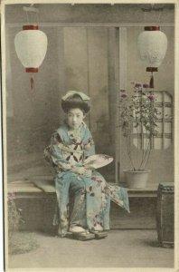 japan, Beautiful Geisha Lady in Blue Kimono, Cloggs Fan Lantern (1910s) Postcard