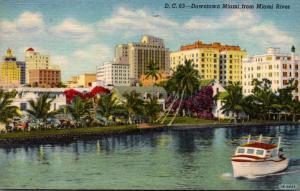 Florida Miami Downtown From Miami River 1957 Curteich
