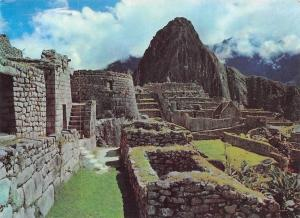 Peru Central Part of the Ruins with the Sun Temple and Waynapicchu Mountain