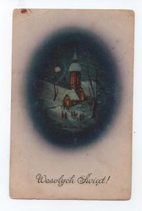 ART CHRISTMAS POSTCARD 1910 years POLAND winter time & CHURCH