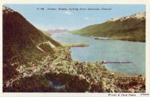ALASKA JUNEAU LOOKING DOWN GASTINEAU CHANNEL A WINTER & POND PHOTO C148 SERIES