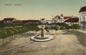 hungary, SZENTES, Kossuth-Ter, Fountain (1910s)