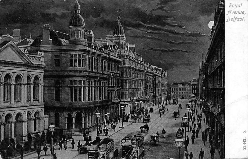 Northern Ireland, Belfast, Royal Avenue Moonlight, trams cars carriages animated