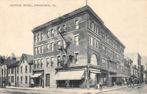 Johnstown Pennsylvania Crystal Hotel Street View Antique Postcard K56551