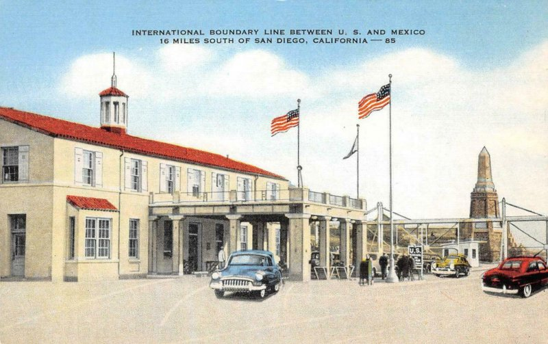 International Boundary Line US/Mexico Border San Diego Tijuana Vintage Postcard
