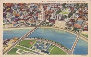 Ohio Columbus Aerial View Of Civic Center Group 1940 Curteich