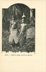 PC CPA ETHNIC NUDE FEMALE TYPE, CONGO Vintage Postcard (b5374)
