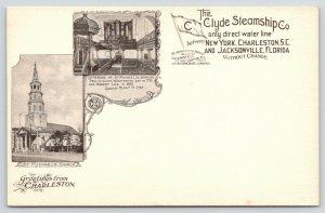 Charleston SC~St Michael's Church & Interior~Clyde Steamship Co~1905 Art Nouveau