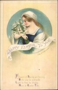 Ellen Clapsaddle Easter - Beautiful Woman Bouquet of Lilies c1915 Postcard