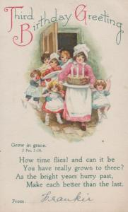 Cake Making Apples Grow In Peace Antique Happy Birthday 3rd Postcard
