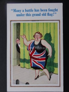 Donald McGill Postcard OPERA / UNION JACK Many a battle has been fought..c1950's
