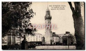 Old Postcard Evreux The belfry seen from the theater square