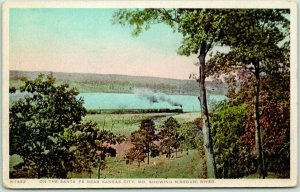 Vintage Missouri FRED HARVEY Postcard On the Santa Fe near Kansas City H-1493