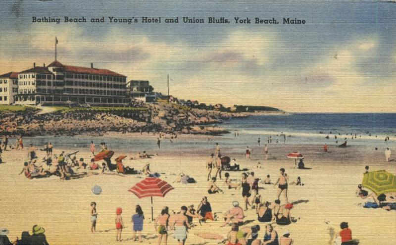 Bathing Beach and Young's Hotel - York Beach, Maine - pm 1949 - Linen